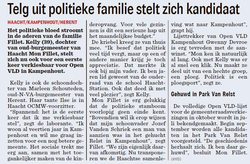 Kelly Fillet Nieuwsblad 12 juni