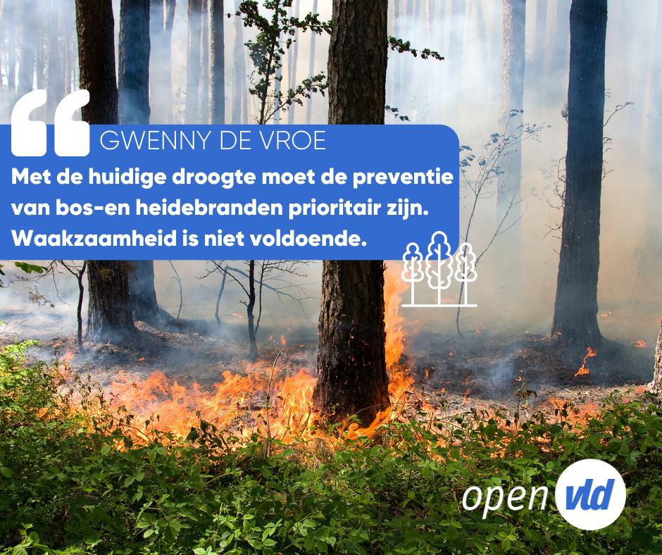 Ik pleit voor een verdere optimalisatie en preventie van bos-en heidebranden in Vlaanderen. De preventie van bosbranden moet met de huidige droogte en het nakend watertekort prioritair zijn.