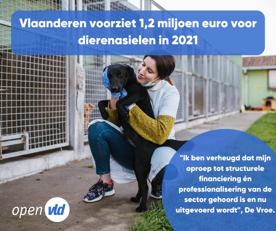 Vlaanderen voorziet 1,2 miljoen euro voor dierenasielen in 2021